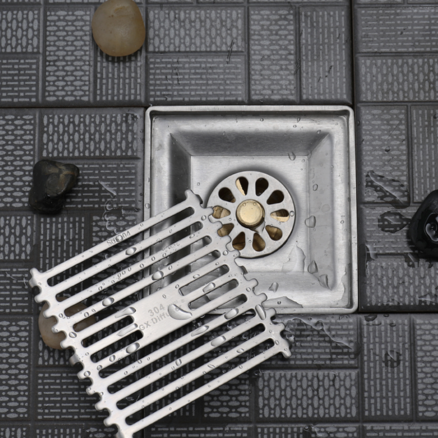 Desagüe para el suelo de la ducha, azulejo de acero inoxidable, inserción cuadrada, rejillas de desecho para suelo, filtro, baño, balcón, tope para el suelo, desagüe de residuos Rejilla para escurrir fregadero de acero inoxidable para cocina, estante de cocina, vajilla DIY, estante de drenaje seco para cubiertos, de 2 capas estante de almacenamiento, organizador de la despensa