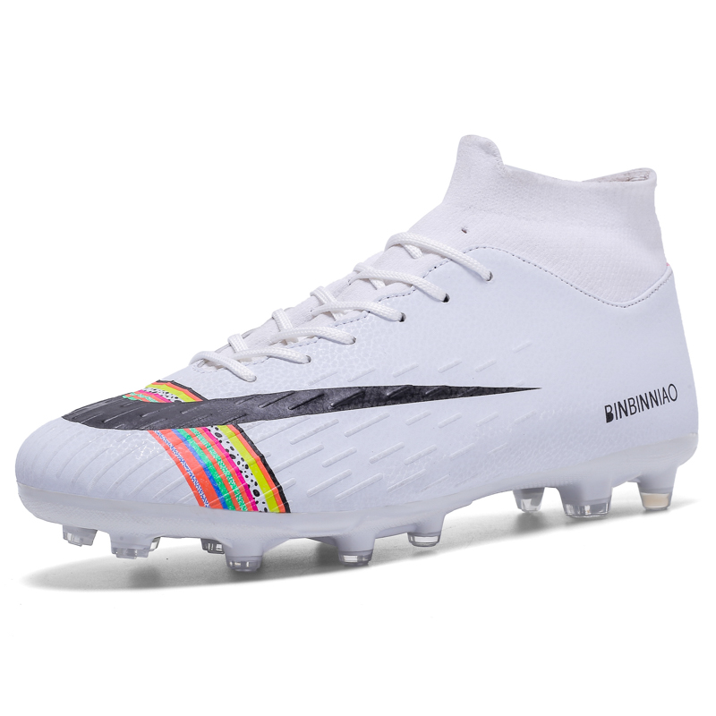 Soccer Shoes Cleats Kids Children Sneakers For Men Soccer Boots Turf Spikes Athletic High-Ankle High-Top Long Men Football Boots