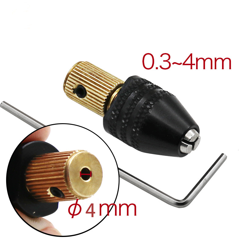 Electric Motor Shaft Mini Chuck Fixture Clamp 0.3mm-4mm Small To Drill Bit Micro Chuck Fixing Device