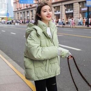 Image 5 - 2020 חדש סתיו חורף מעיל ברדס נשים מעיל Loose כותנה מרופדת קצר מעילי Parka חם מזדמן בתוספת גודל מעיל