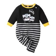 New Autumn Toddler Baby Kids Cartoon Print Jumpsuits Infant Boys Girls Long Sleeve Striped Casual Rompers Spring baby boys rompers clothes spring autumn kids long sleeved cartoon tiger cute bear style jumpsuits for 3 12 month