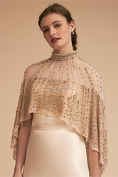 Chaqueta de boda cuentas color champán perla abrigo boda Bolero Mujer Accesorios de boda capa nupcial hombros chaqueta hecha a mano chal