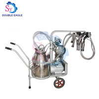 Double Buckets Mobile Dry Type Pump Cow Milking Machine/Vacuum Pump Portable Goat Milk Extruding Machine