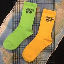 Adult Crew Cotton Socks Funny SPOILED BRAT Volt Yellow Green Flurescene Naughty