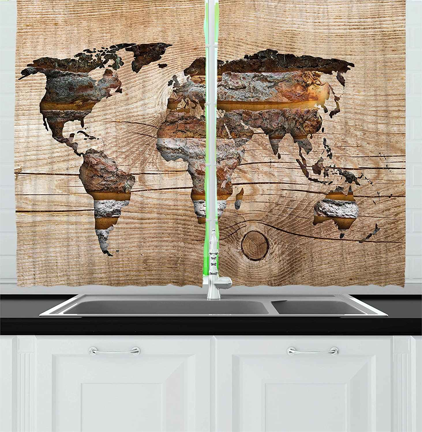 Modern Kitchen Curtains Vintage World Map Form On Wooden Texture Effect Background Rustic Design Window Curtain For Kitchen Cafe Curtains Aliexpress