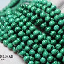 Meihan (1 hebra), venta al por mayor, malaquita natural, 8 8,5mm, Lisa redonda, popular, cuentas de piedra para fabricación de joyas, pulsera de diseño DIY