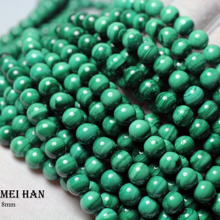 Meihan (1 strand) wholesale natural 8 8.5mm smooth round popular malachite beads stone for jewelry making design DIY bracelet