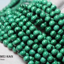 Meihan (1 strang) großhandel natürliche malachit 8 8,5mm glatte runde beliebte perlen stein für schmuck machen design DIY armband