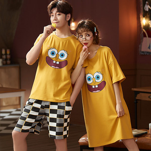 Couple Summer Pajamas Set Men T Shirt Shorts Women Dress Pijama Unit Cotton Home Sleepwear Cartoon Funny Lounge Short Sleeve 3XL(China)