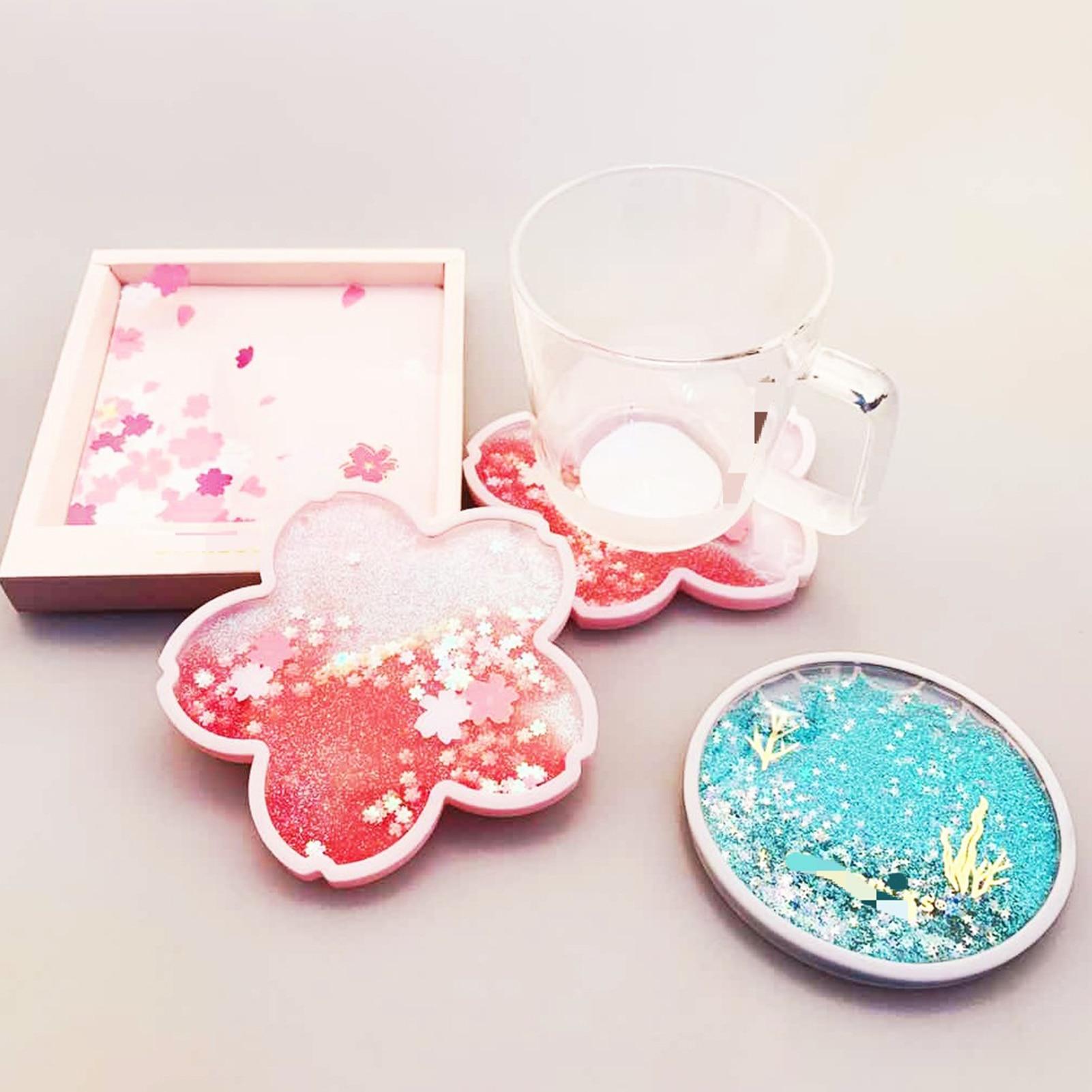 Glittery Sakura Quicksand Drink Mat 5