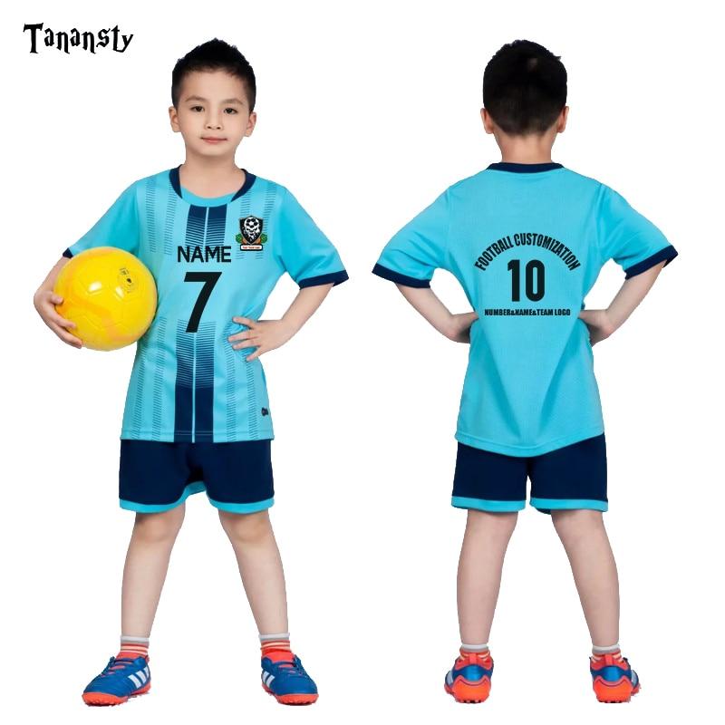 Kids Football Jerseys Boys Football Uniform Soccer Jersey Set Girls Custom Soccer Uniform Sportswear Shirt And Shorts Blue Green