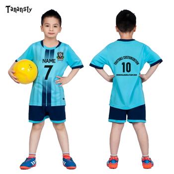Koszulki piłkarskie dla dzieci chłopcy strój piłkarski zestaw koszulek do piłki nożnej dziewczyny niestandardowy strój piłkarski odzież sportowa koszula i szorty niebieski zielony tanie i dobre opinie TANANSTY Poliester Elastan Pasuje prawda na wymiar weź swój normalny rozmiar