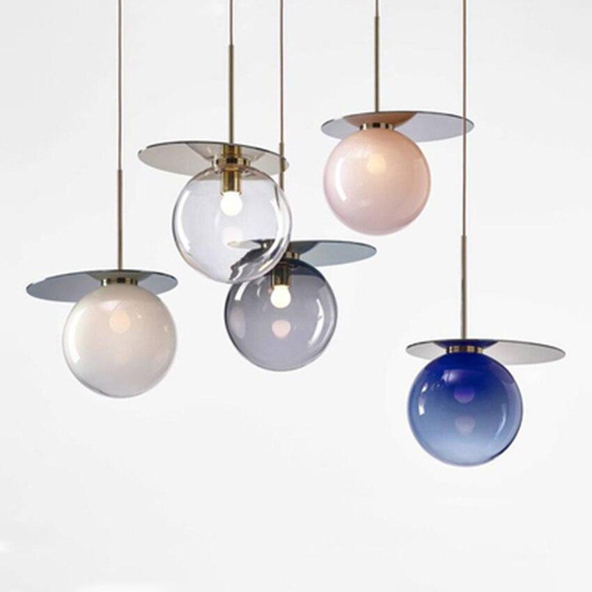 Modern LED Glass Pendant Lights Lighting Nordic Design Art Restaurant Pendant Lamp Cafe Bar Decor Hanging Lamp Light Fixtures|Pendant Lights| |  - title=