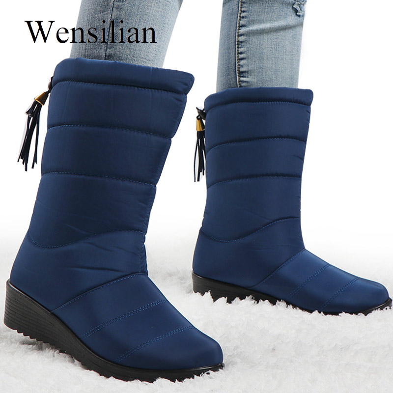 Winter Boots Women Down Mid-Calf Boots Female Waterproof Ladies Snow Shoes Girls Wedge Shoes Woman Plush Insole Botas Mujer