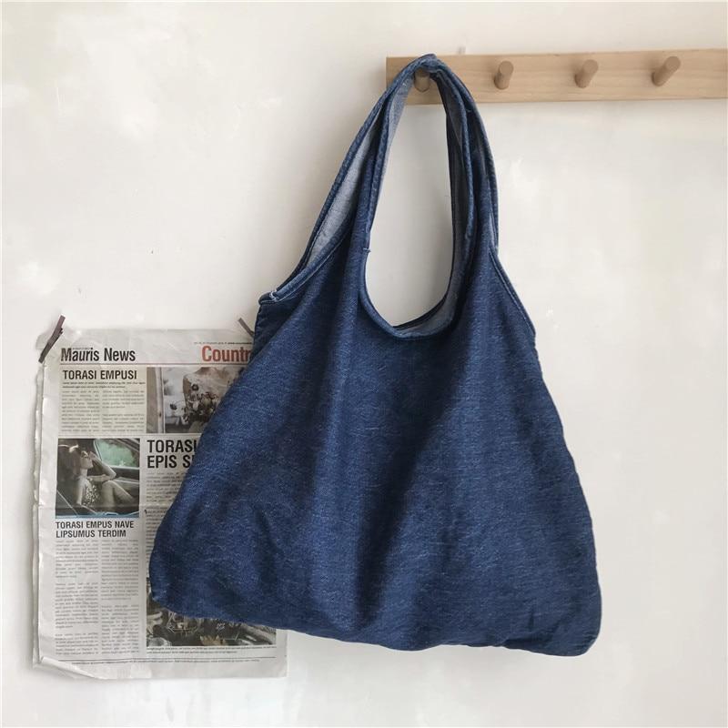 Lazy Style Women's bag solid color simple shoulder bag  fashion large capacity eco-friendly shopping bag denim tote bag