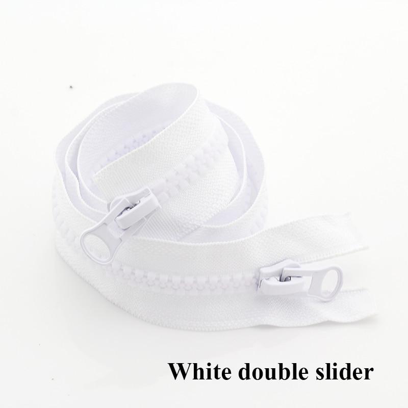 8#15/20/70/80/90/100/120/150/200/300/400/500 см смолы застежка-молния с открытым концом/молнии с закрытым концом автоматической блокировки палатка для швейная молния - Цвет: White Double Slider