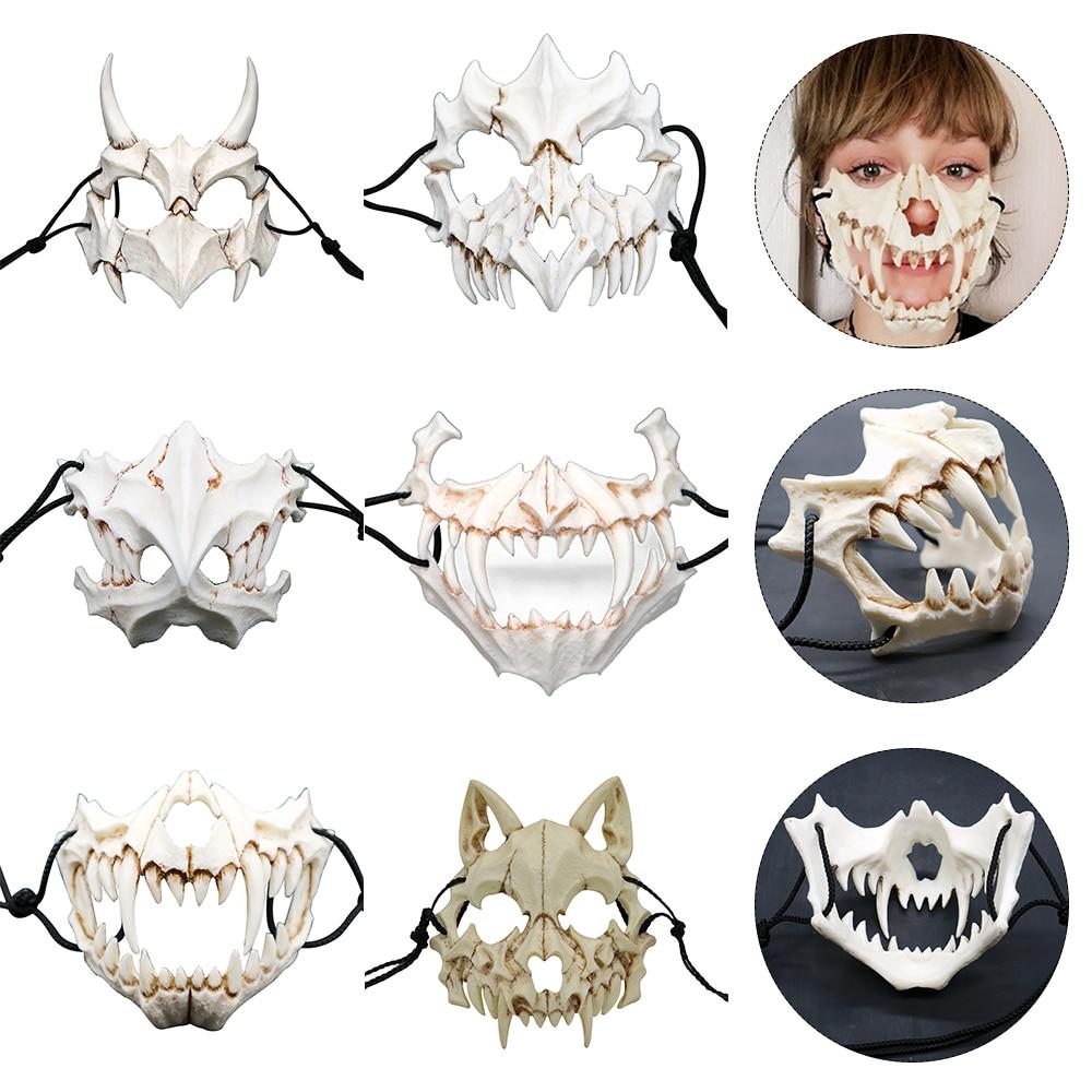 Вечерние Маски, длинные зубы, демон, Самурай, белая маска с костью, тенгу, дракон, Якса, тигр, резиновая маска, косплей, Хэллоуин, реквизит, акс...