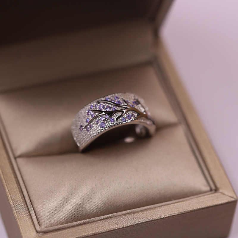 Várias cores elegantes única floresta folhas e ramos embutidos com zircão safira rubi senhora anel largo lazer jóias