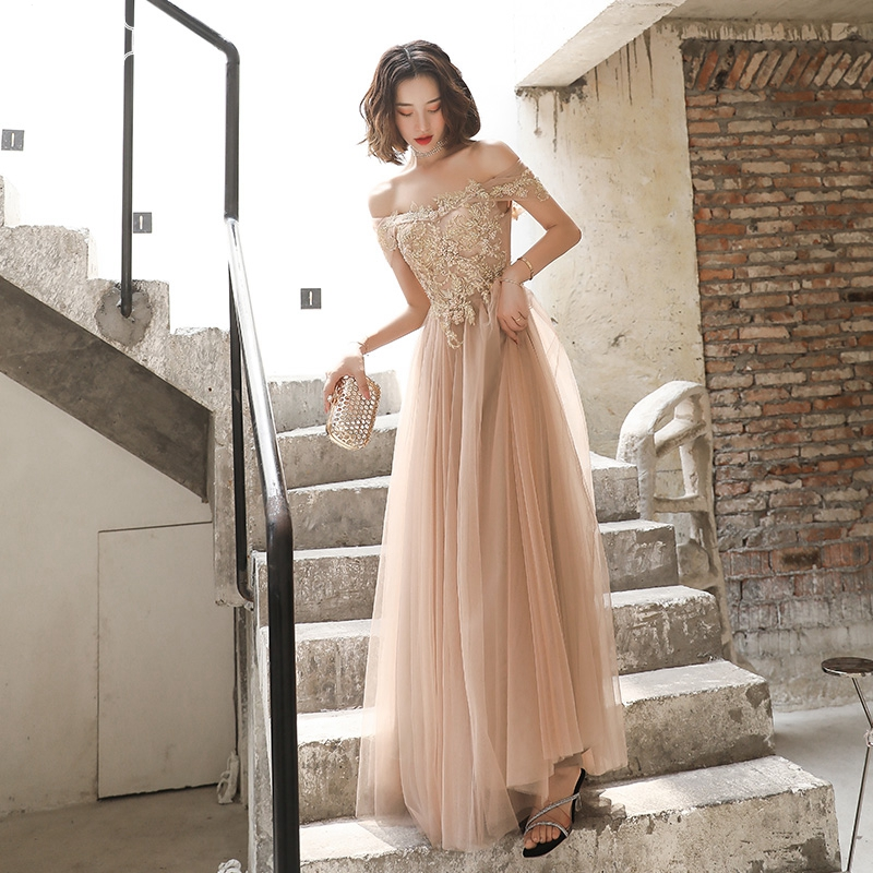 WAYJ New Sexy Off The Shoulder Champagne Long Evening Dress Hand Beaded Lace Up Mesh Fabric Elegant Fashion Birthday Party Gowns