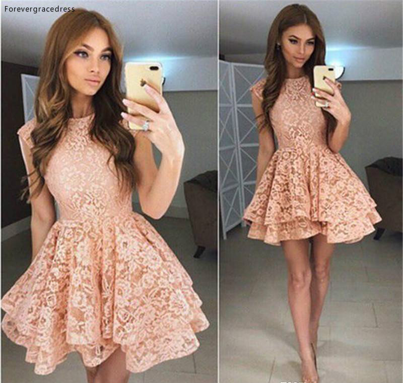 Cheap Chic Layered Lace Cocktail Dress A Line Mini Short Juniors Sweet 15 Graduation Party Dress Plus Size