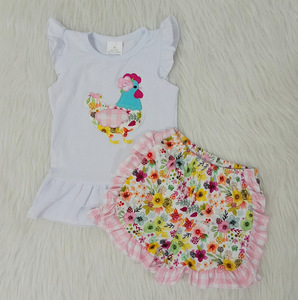 RTS-ensemble vêtements pour petites filles | Ensemble de short fleuri, chemise brodée de poulet, blanc, à la mode