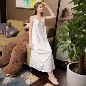 Image 4 - Falda larga Sexy de verano para dormir, 100% blanca de algodón, ropa de dormir con tirantes finos, camisón de noche sin mangas para mujer, camisón de lencería