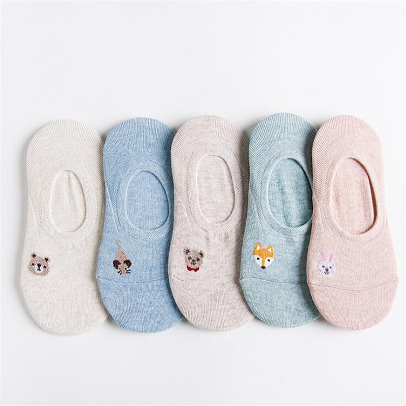 Women Socks Summer Kawaii Harajuku Boat Socks Female Casual 3D Cartoon Animal Fox Bear Cute Invisiable Slippers Girl Ankle Socks