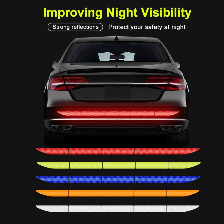 5 adet araba Reflectante reflektör Sticker 91*4cm araba vücut gövde dış oto aksesuarları yansıtıcı bant refleks dış uyarı