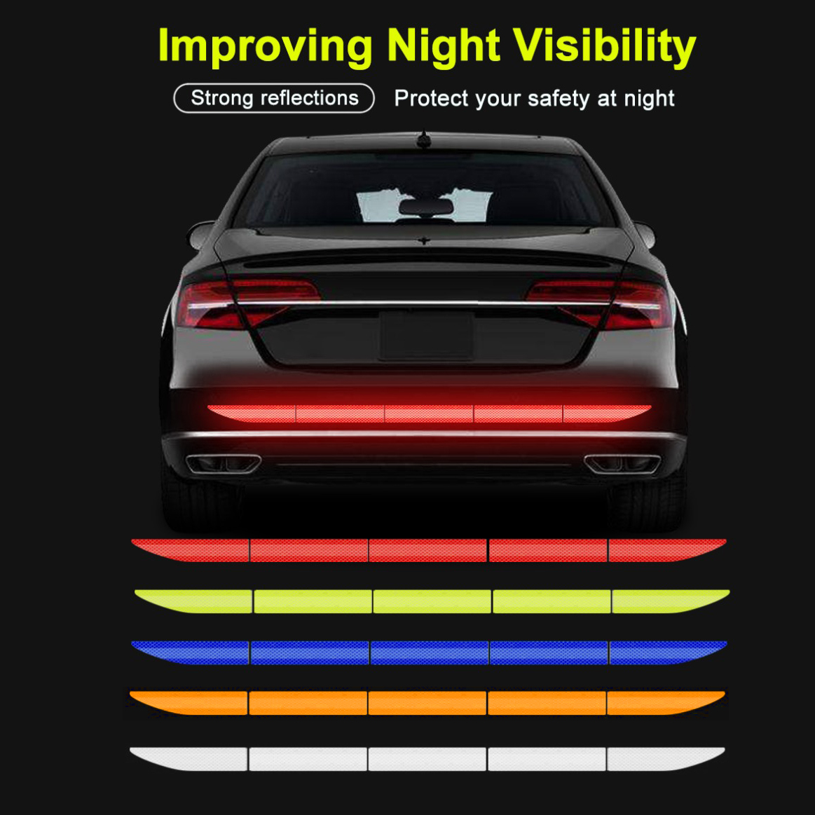 5pcs Car Reflectante Reflector Sticker 91*4cm Car Body Trunk Exterior Auto Accessories Reflective Tape Reflex Exterior Warning