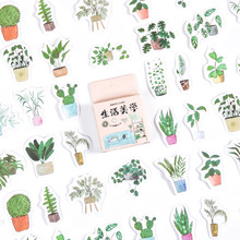 46Pcs/Pack Beautiful Plant Sticky Stickers Colorful Paper Decoracion Scrapbooking Stationery School Supplies Sticker Flakes