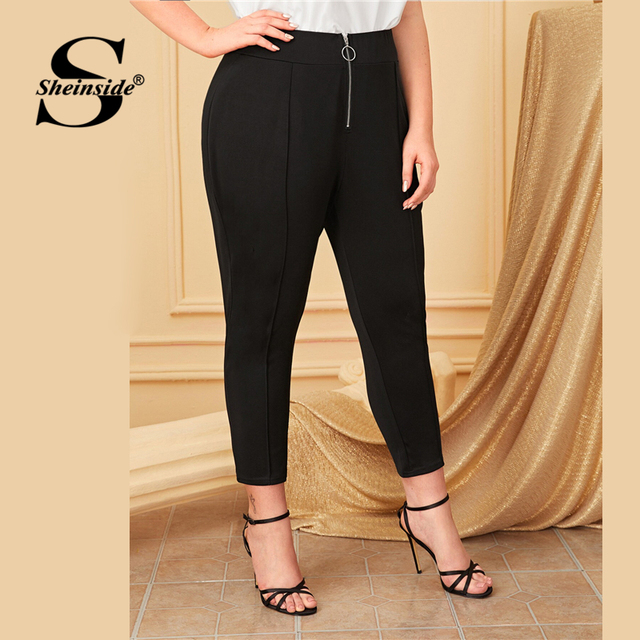 Sheinside Plus Size Black Front O-ring Zip Up Pants Women 2019 Autumn High Waist Crop Trousers Ladies Solid Skinny Pants 2