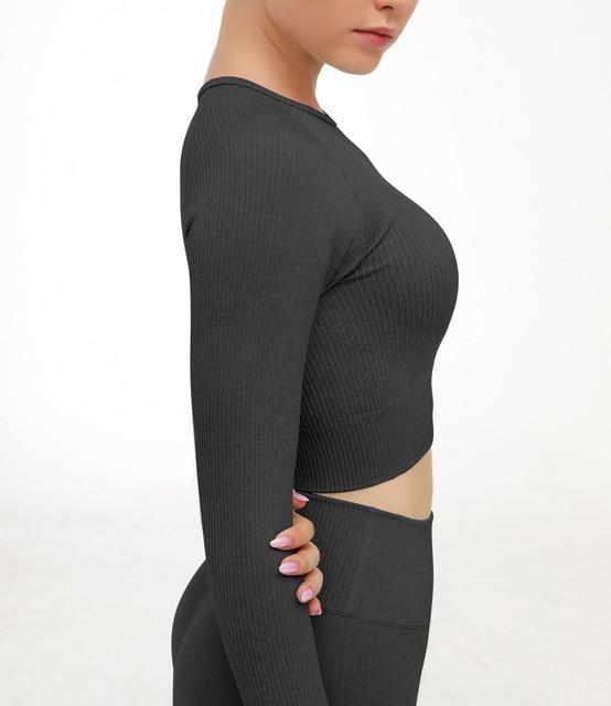 2 Piece Set Women Ribbed Seamless Long Sleeve Yoga Sets Workout Clothes for Women High Waist Sports Legging Long Sleeve Top 5