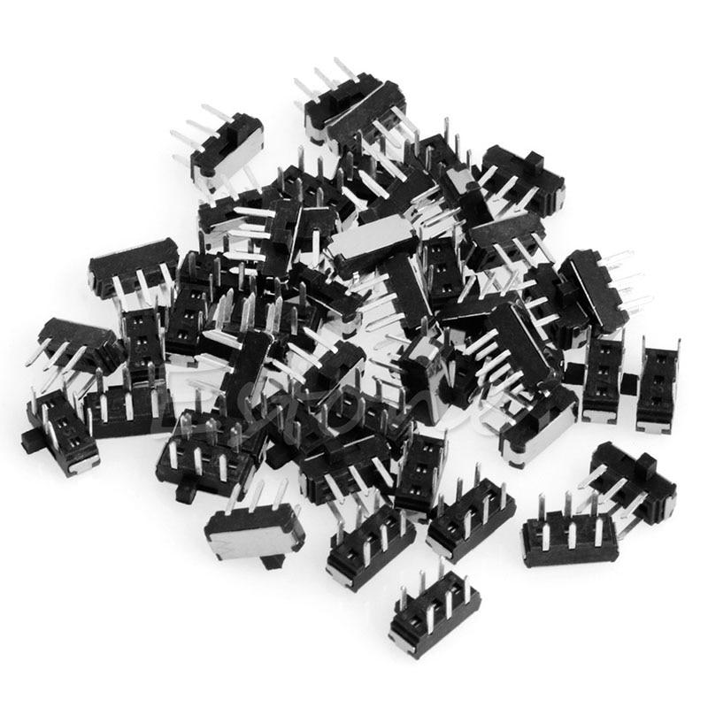 100Pcs 6 Pin cuadrado 7mmx7mm Mini Interruptor de Botón Momentáneo Interruptor DPDT