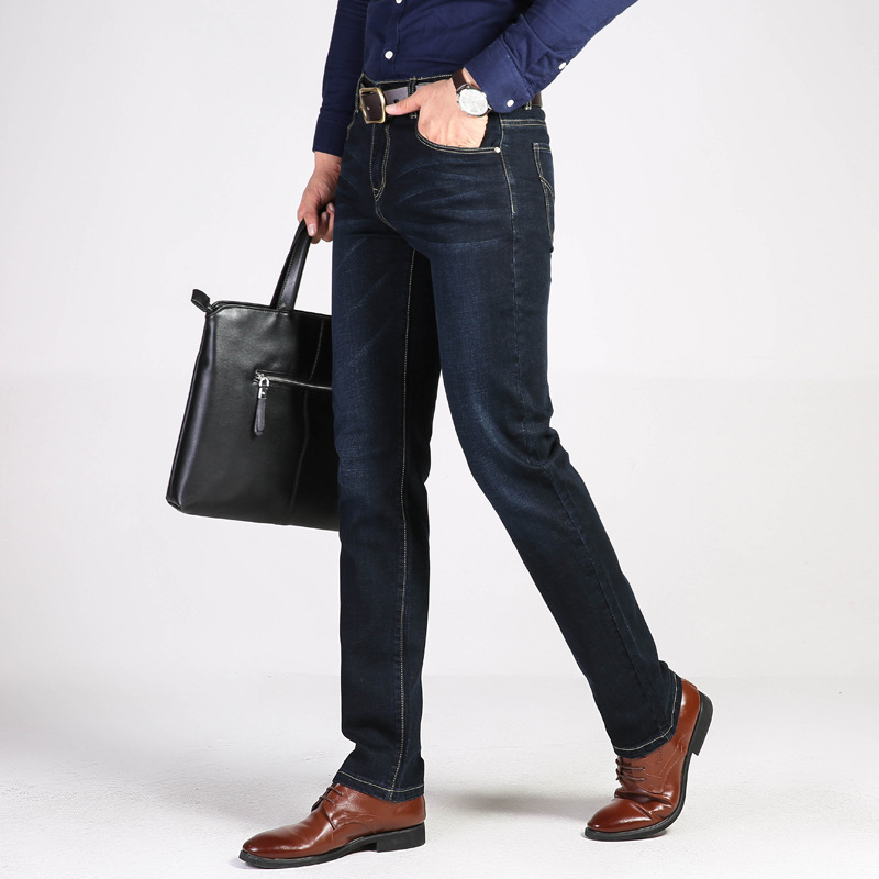 [] 2019 Four Seasons Business Jeans Elasticity Versatile Straight-Cut MEN'S Trousers 2 PCs Color 6013