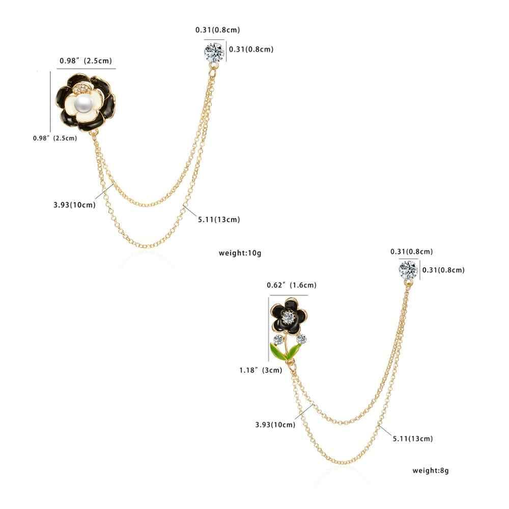 Rinhoo Hitam Enamel Double Pin Bros Berlian Imitasi Bunga dengan Link Rantai Kerah Pin Lencana Pria Suit Aksesoris Perhiasan Hadiah