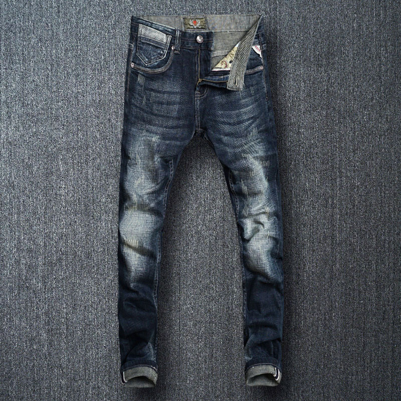 Italian Style Fashion Men Jeans High Quality Black Blue Color Slim Fit Ripped Jeans Men Vintage Designer Jeans Homme Denim Pants