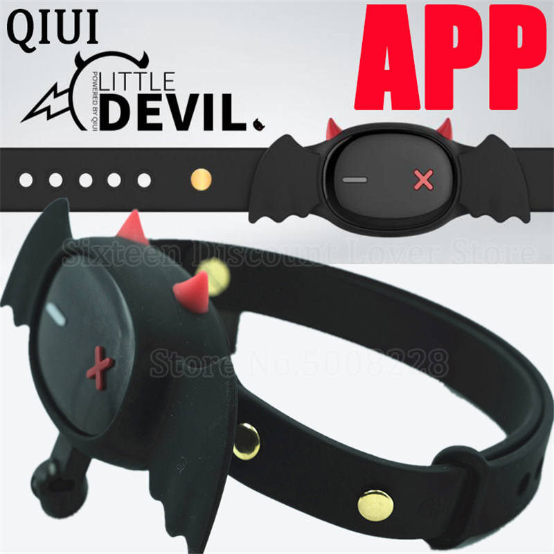 QIUI Little Devil Collar APP Remote Control Restraint BDSM Neck Electric Shock Collars Adult Game Sex Toys For Women Men Couples