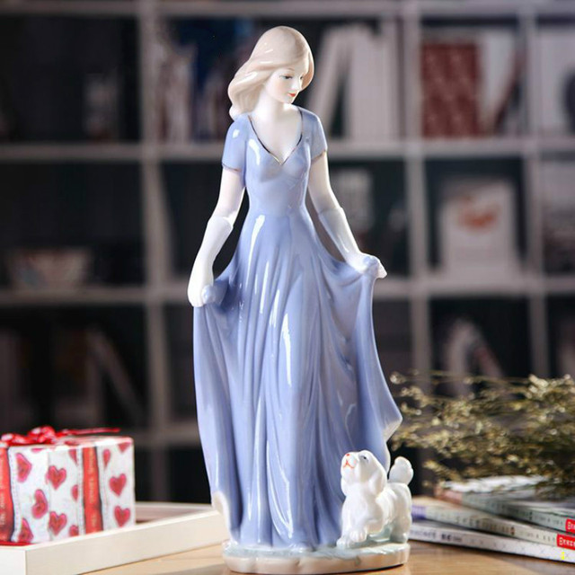 Europe Ceramic Beauty Figurines Home Furnishing Crafts Decoration Western Porcelain handicraft Ornament Wedding Gift A 4