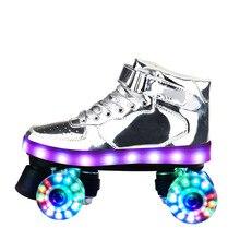 Skate-Shoes Adult Children Women Double-Row Pu Luminous
