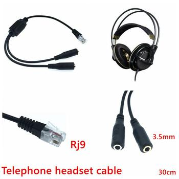 RJ9 Plug to 2 X 3.5mm Jack Convertor Cable for PC Computer Headset to Avaya 1600 9600 SNOM Yealink Phones 30cm image