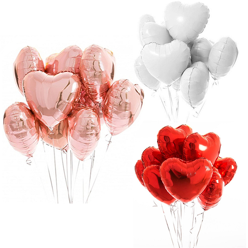 10pcs Multi Rose Gold Heart Foil Balloons For Birthday And Wedding Party Decorations