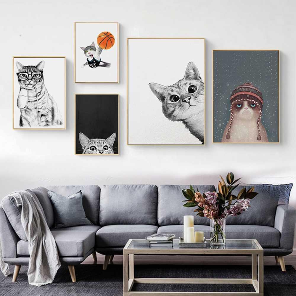 Kawaii קריקטורה בעלי החיים חתול פוסטר אמנות תמונות על קיר בד ציור נורדי סגנון קיר תמונות לילדים חדר בית דקור