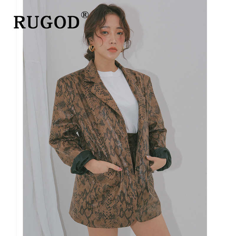 RUGOD Vintage light snake printed women jacket Fashion Auturm notched office lady blazer jackets Casual pocket jacket and coat
