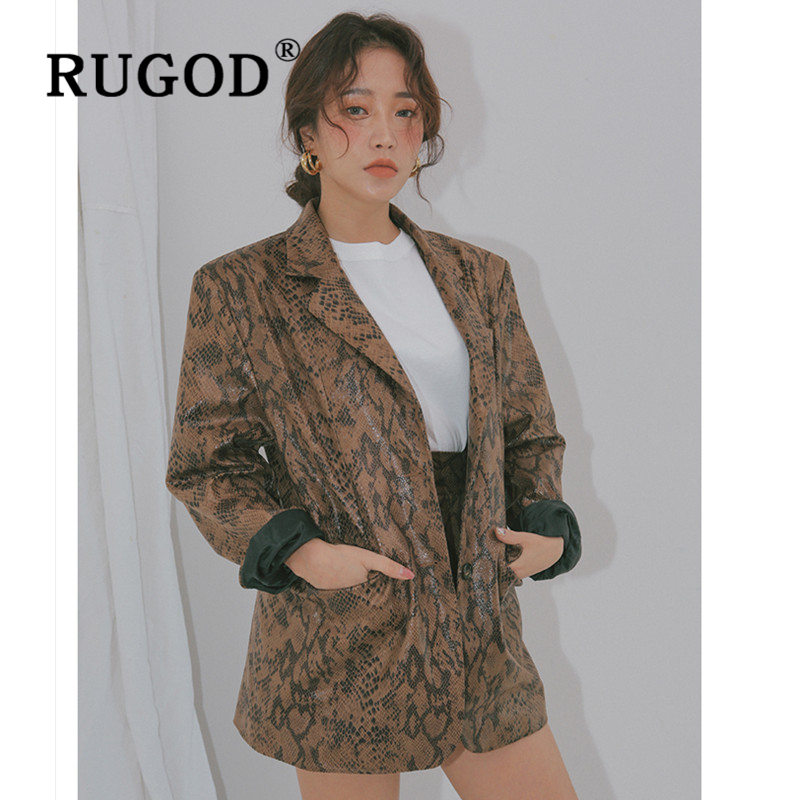 RUGOD Vintage light snake printed women jacket Fashion Auturm notched office lady blazer jackets Casual pocket and coat