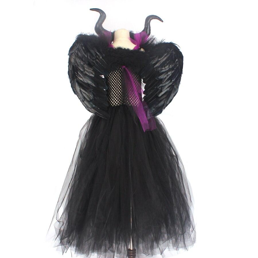 Kids Maleficent Evil Queen Girls Halloween Fancy Tutu Dress Costume Children Christening Dress Up Black Gown Villain Clothes