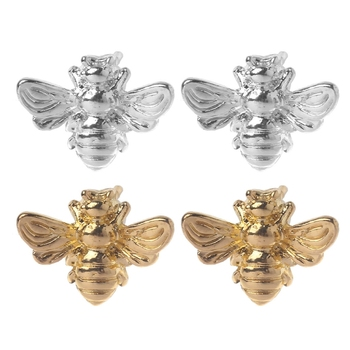 1 Pair Cute Tiny Honey Bee Stud Earrings Insect Bumble Bee Jewelry Gold Silver image