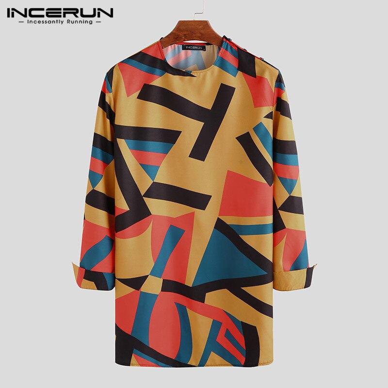INCERUN African Dashiki Print Shirt Men Casual Long Sleeve O Neck Long Tops Retro Shirts Fashion Loose Men African Clothes 2019