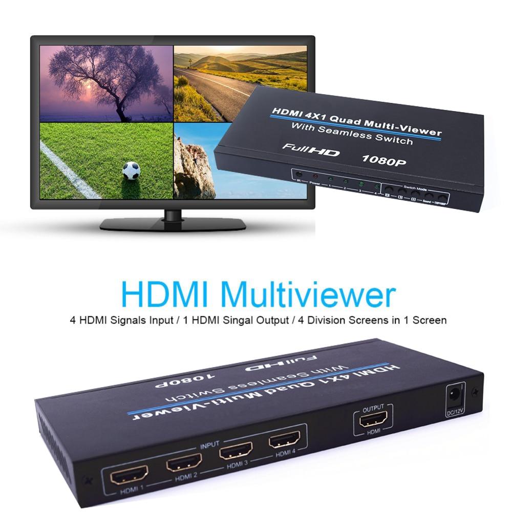Full HD 4x1 переключатель мультипросмотра 4 в 1 четырехъядерный мультипросмотр 1080P HD ТВ видео конвертер 4 ТВ экрана разветвитель бесшовный перекл...