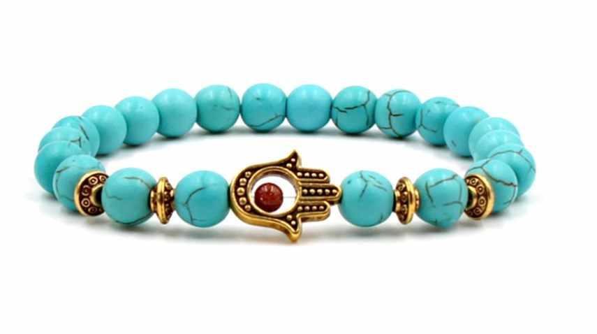 8mm hg2342 oko ręka bransoletki turkusowy budda modlitwa bransoletka joga kobiety mężczyźni natura kamień dla kobiet biżuteria