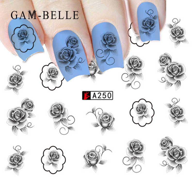 GAM-BELLE 1pc 12 Types Nail Art Black Decal Water Transfer Sticker DIY Flower Rose Slider Wraps Nail Paper Decoration Manicure